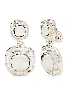 Napier Silver-Tone Double Drop EZ Comfort Clip Earrings
