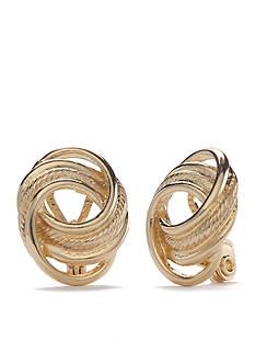 Napier Gold-Tone Button Clip Earrings