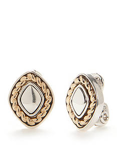 Napier Two-Tone Textured Play Button Clip Earrings