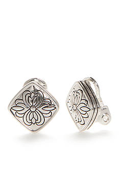 Napier Silver-Tone Pattern Stamp Button Clip Earrings