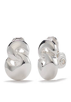 Napier Silver-Tone Figure Eight Clip Earrings