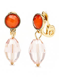 Napier Color Journey Double Drop Clip Earrings