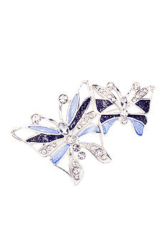 Napier Silver-Tone Double Blue Butterfly Boxed Pin