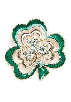 Napier Gold-Tone Luck O' Irish Clover Boxed Pin