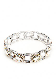 Napier Two-Tone Texture Play Stretch Bracelet