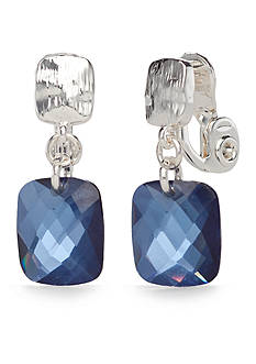 Napier Silver-Tone Denim The Way Clip Earrings