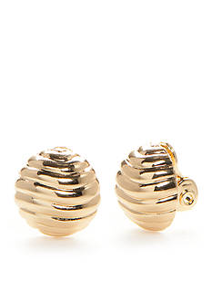 Napier Gold-Tone Dome Button Clip Earrings