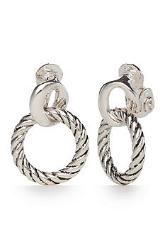 Napier Silver-Tone Tied Together Clip Earrings