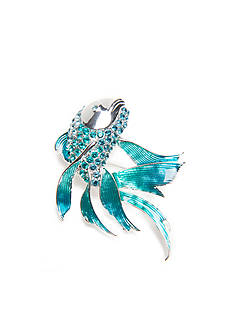 Napier Silver-Tone Turquoise Fish Boxed Pin