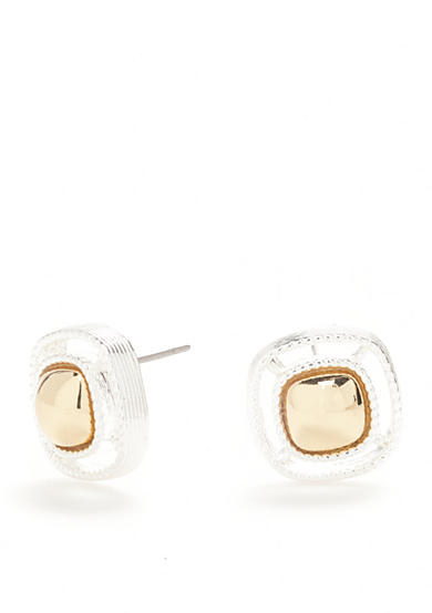 Napier Two-Tone Small Button Earrings