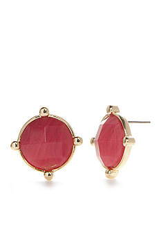 Napier Gold-Tone Oasis Pink Button Earrings