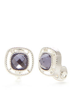 Napier Silver-Tone Small Purple Button Earrings