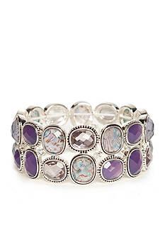 Napier Silver-Tone Purple Large Stretch Bracelet