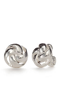 Napier Silver-Tone Knot Button Earrings
