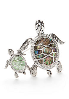Napier Silver-Tone Mother Turtle and Baby Boxed Pin