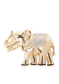 Napier Gold-Tone Crystal Elephant Boxed Pin