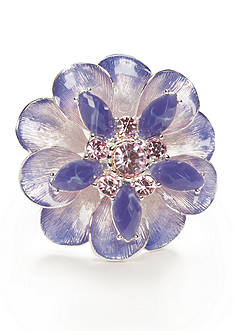 Napier Silver-Tone Purple Feathered Flower Pin