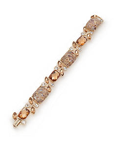 Napier Gold-Tone Amber Crystal Chain Bracelet