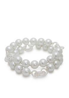 Napier Silver-Tone Faux Pearl Stretch Bracelet Set