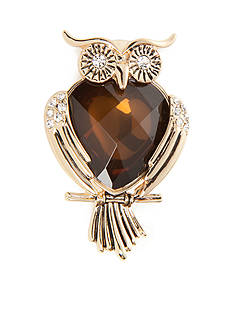 Napier Gold-Tone Owl Boxed Pin