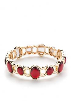 Napier Gold-Tone Delicate Red Stretch Bracelet