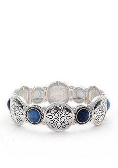 Napier Silver-Tone Blue Stretch Bracelet