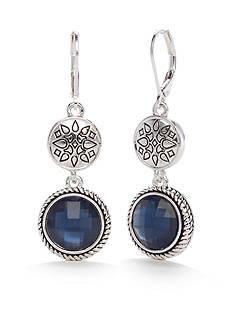 Napier Silver-Tone True Blue Double Drop Lever Back Earrings