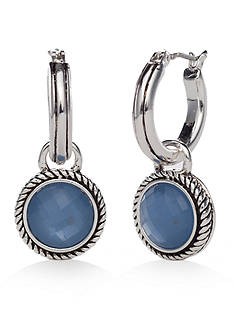 Napier Silver-Tone True Blue Small Drop Hoop Earrings