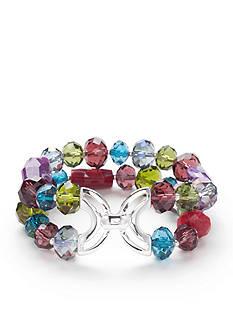 Napier Silver-Tone Glistening Row Double Row Stretch Beaded Bracelet