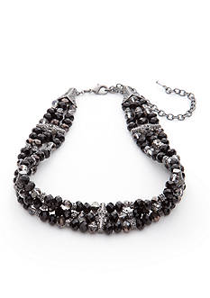 Napier Hematite-Tone Jet Black Choker Necklace