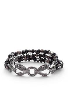 Napier Hematite-Tone Stretch Bracelet
