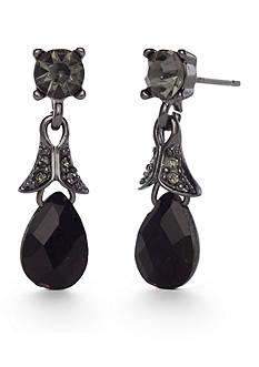 Napier Hematite-Tone Drop Earrings