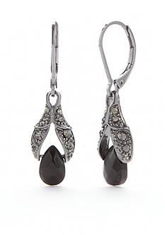 Napier Hematite-Tone Double Drop Earrings