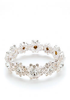 Napier Silver-Tone with Crystal Stretch Bracelet