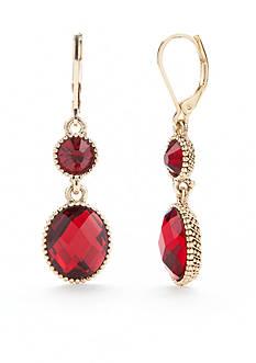 Napier Gold-Tone Leverback Double Drop Earrings