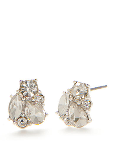 Napier Silver-Tone To Remember Crystal Cluster Button Earrings