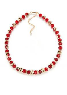 Napier Gold-Tone Beaded Collar Necklace
