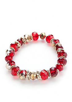 Napier Gold-Tone Beaded Stretch Bracelet