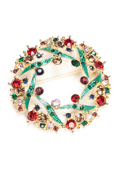 Napier Gold-Tone Winter Wonderland Boxed Wreath Pin