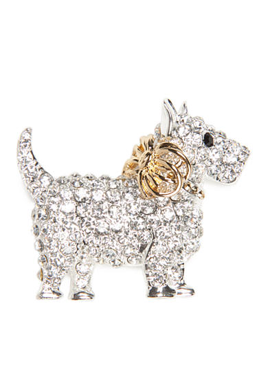 Napier Silver-Tone Winter Wonderland Boxed Crystal Puppy Dog Pin