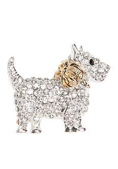 Napier Silver-Tone Winter Wonderland Boxed Crystal Puppy Dog Pin