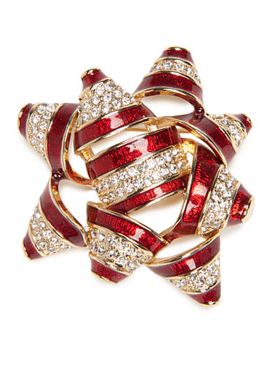 Napier Gold-Tone Winter Wonderland Boxed Bow Pin