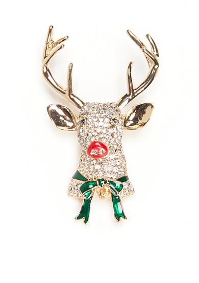 Napier Gold-Tone Winter Wonderland Boxed Crystal Rudolph Pin