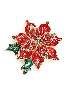 Napier Gold-Tone Winter Wonderland Boxed Poinsettia Leaf Pin