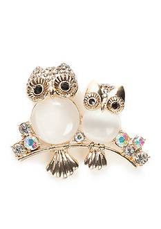 Napier Gold-Tone Double Owls Boxed Pin