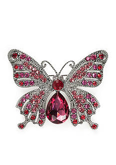 Napier Hematite-Tone Butterfly Boxed Pin