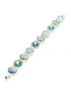 Napier Silver-Tone Etched Line Boxed Bracelet