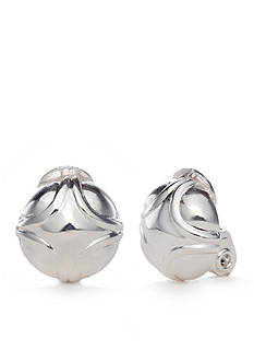Napier Silver-Tone EZ Comfort Clip Button Earrings