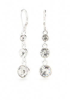 Napier Silver-Tone Nights Out Crystal Linear Earrings