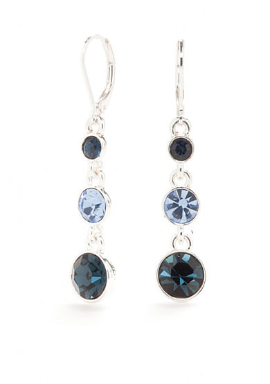 Napier Silver-Tone Nights Out Blue Crystal Linear Earrings
